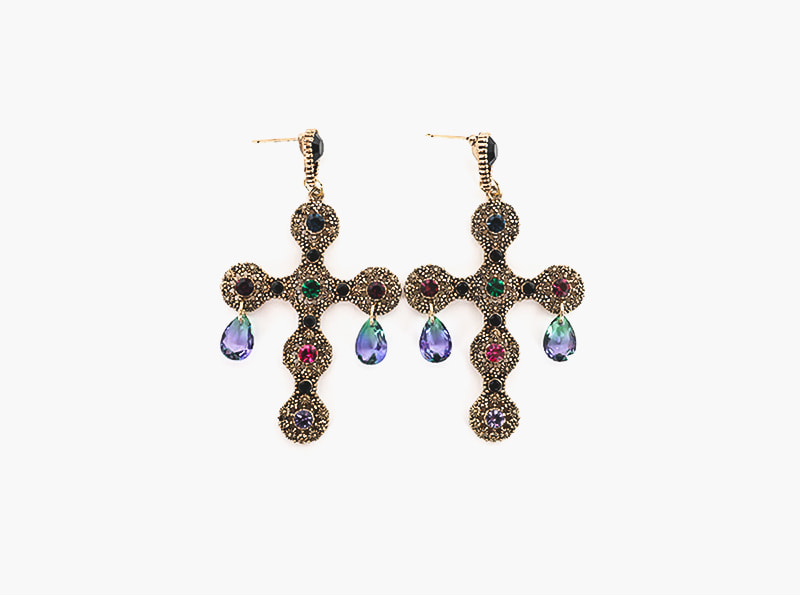ANTIC CROSS EARRING