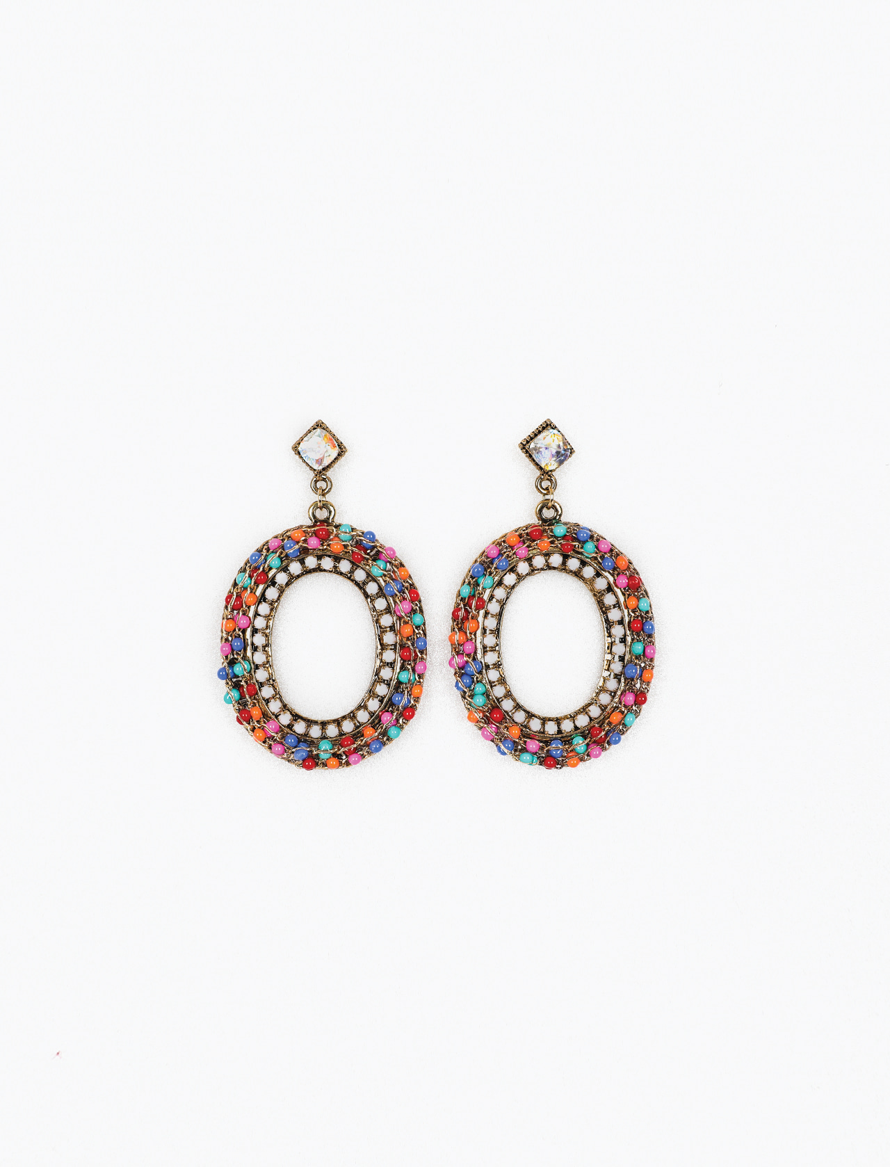 BEADED ROUND EARRING